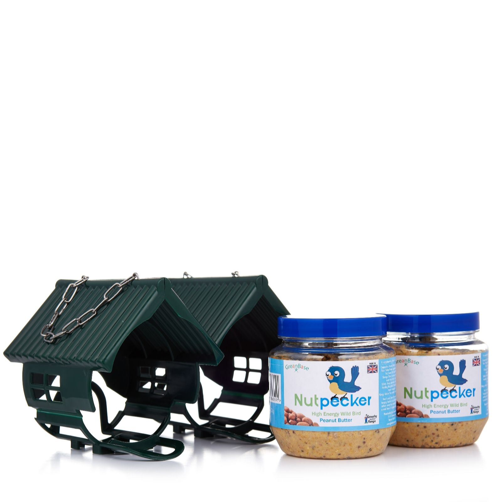 Set of 2 Nut Pecker Bird Feeders & 2 x 330g Peanut Butter Bird Food Jars -  QVC UK