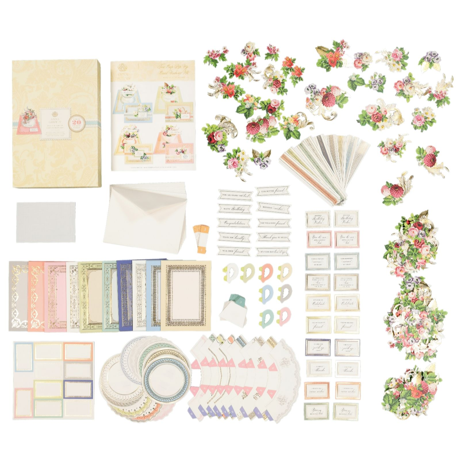 Anna Griffin Set Of 20 Tea Cup Pop Up Card Kit Qvc Uk