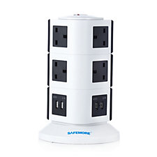 Safemore Surge Protection 10 Way Plug Extender w/ 4 USB Charging Ports