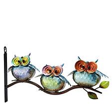 Plow & Hearth Metal 3 Owls on Branch Wall Art