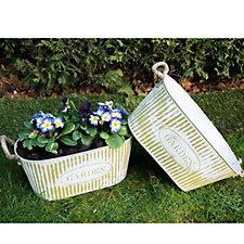 Set of 2 Garden Zinc Planters with Jute Rope Handles