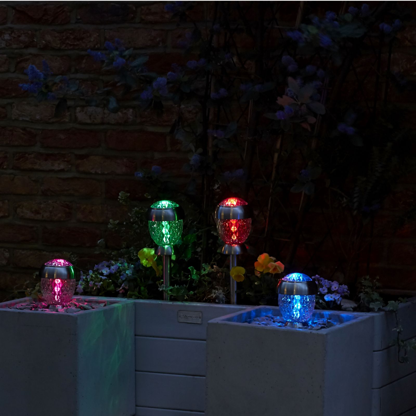 Solithia Set of 4 Glass Colour Changing Solar Lights
