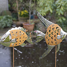 Home 2 Garden Set of 2 Stainless Steel Fish Decorations