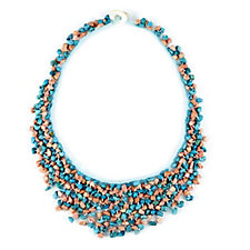 Chinese Turquoise Dyed Sea Bamboo Chip 50cm Necklace
