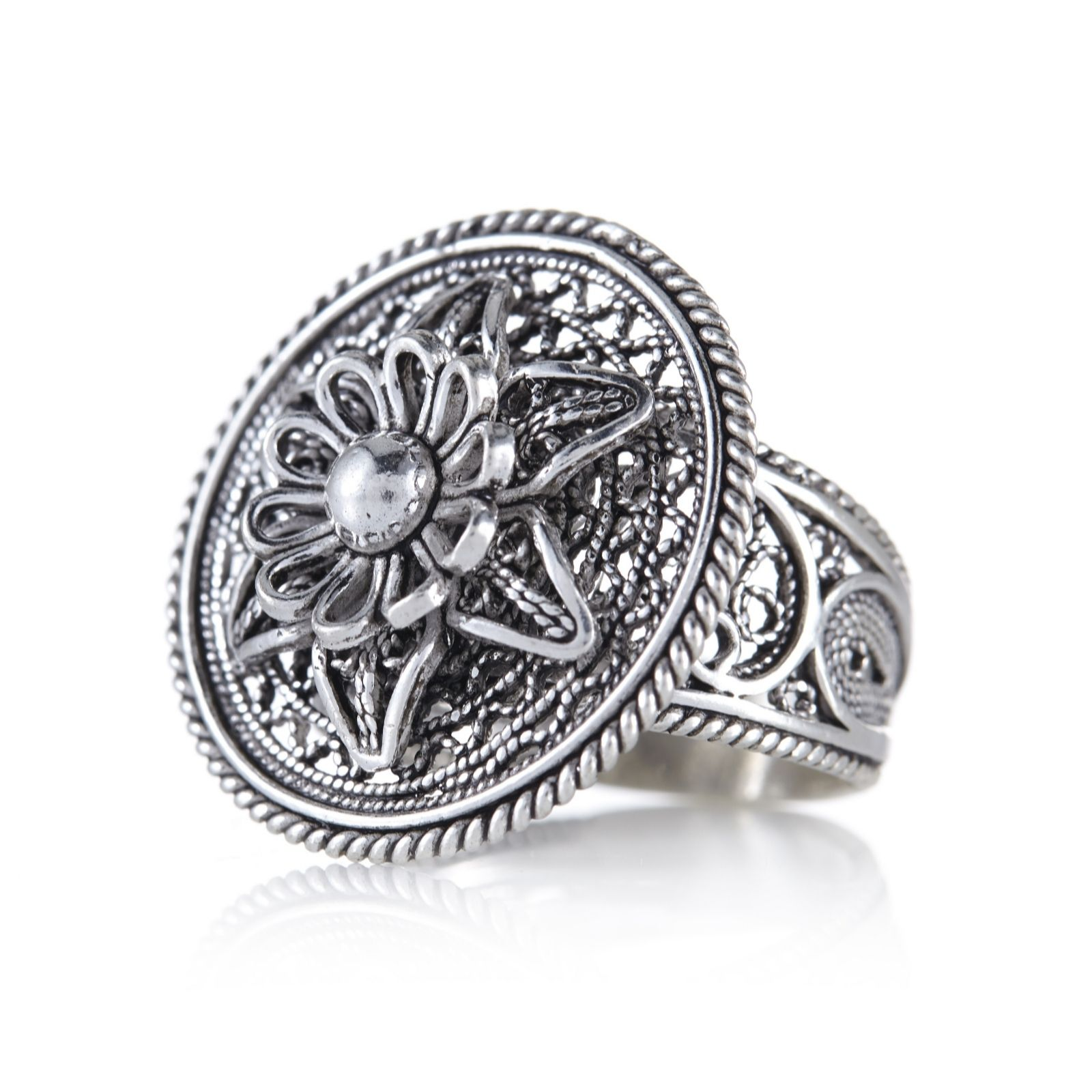 Ottoman Filigree Flower Ring Sterling Silver Page 1 Qvc Uk
