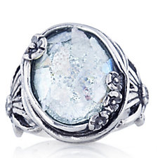 Or Paz Roman Glass Oval Ring Sterling Silver