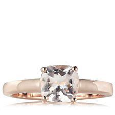 1.2ct Morganite Cushion Solitaire Ring Rose Gold Vermeil Sterling Silver
