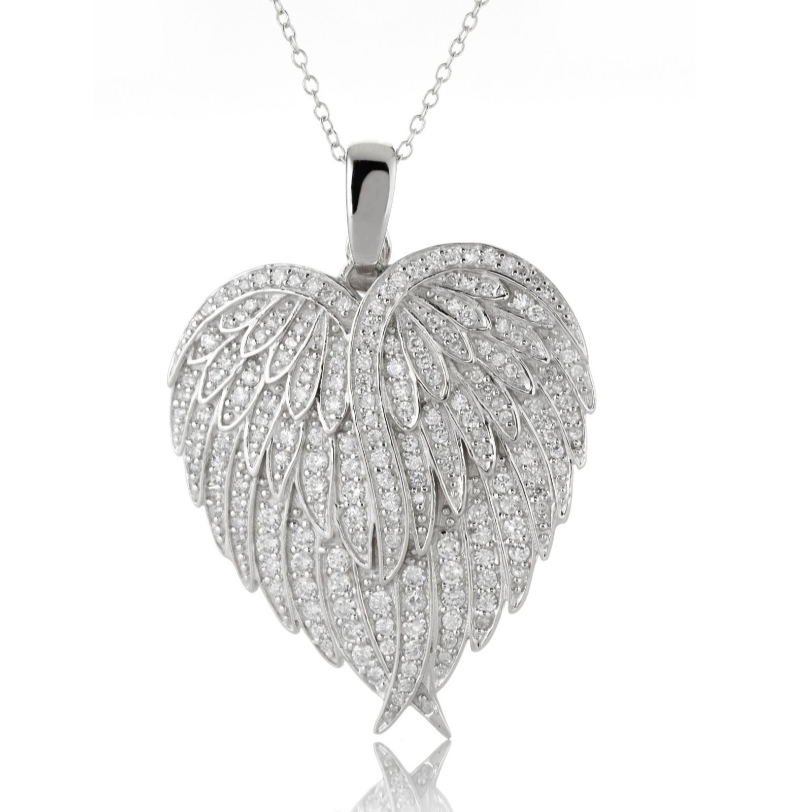 Diamonique 26ct tw wing heart pendant 60cm chain sterling silver diamonique 26ct tw wing heart pendant 60cm chain sterling silver page 1 qvc uk aloadofball Gallery