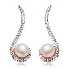 Honora 7-7.5mm Cultured Pearl Earclimber Earrings Bronze