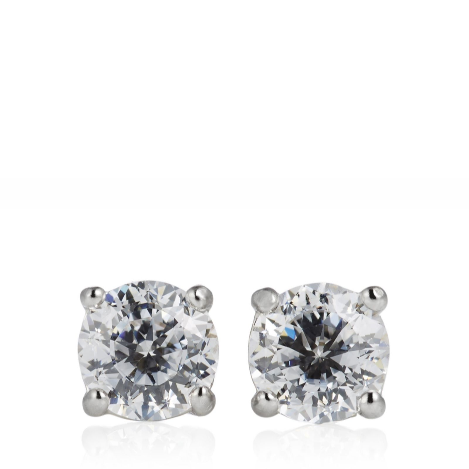 ceb15641b Diamonique 1ct tw 100 Facet Stud Earrings Sterling Silver - Page 1 - QVC UK