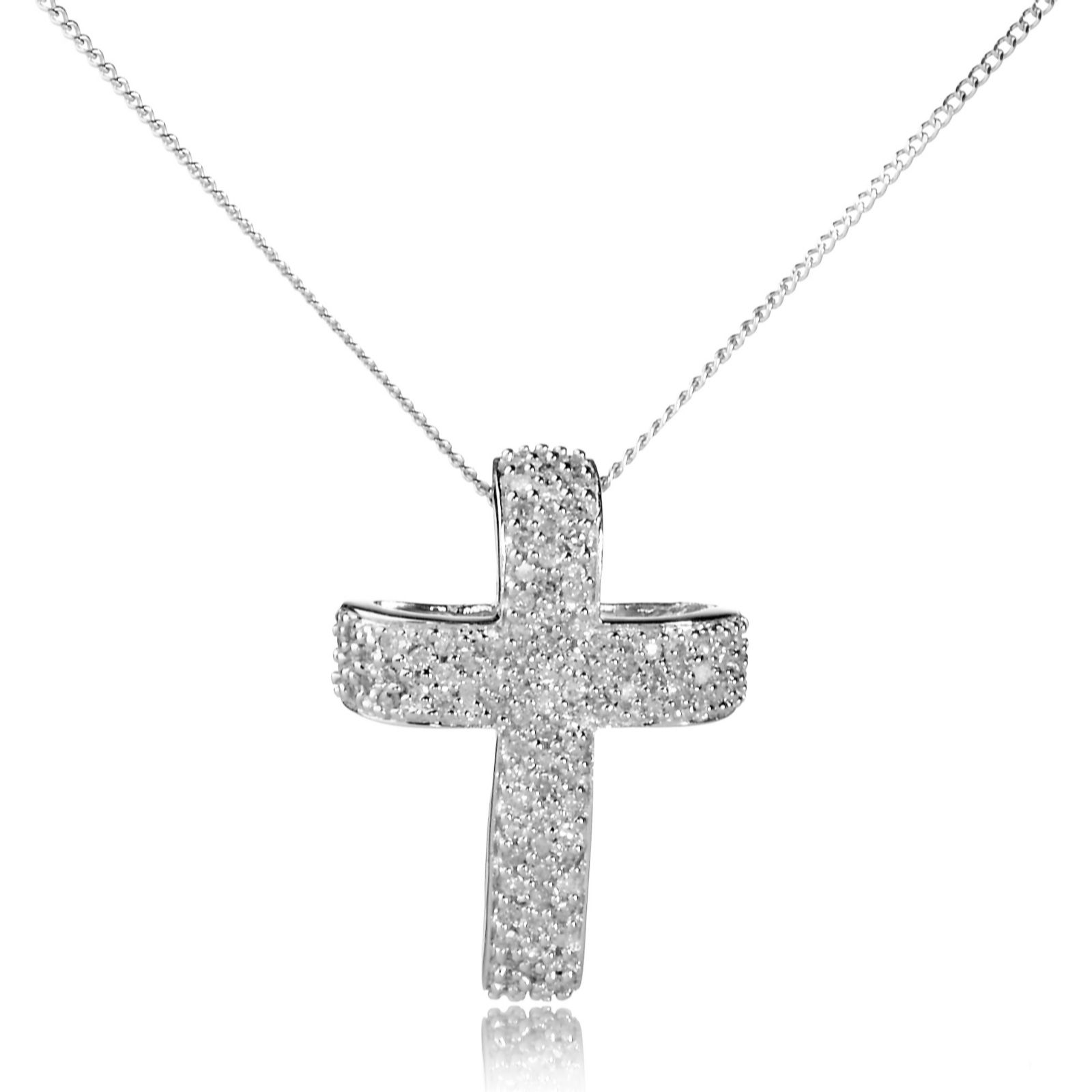 f84d4d24ec962 0.25ct Diamond Cross Pendant   Chain 9ct White Gold - QVC UK