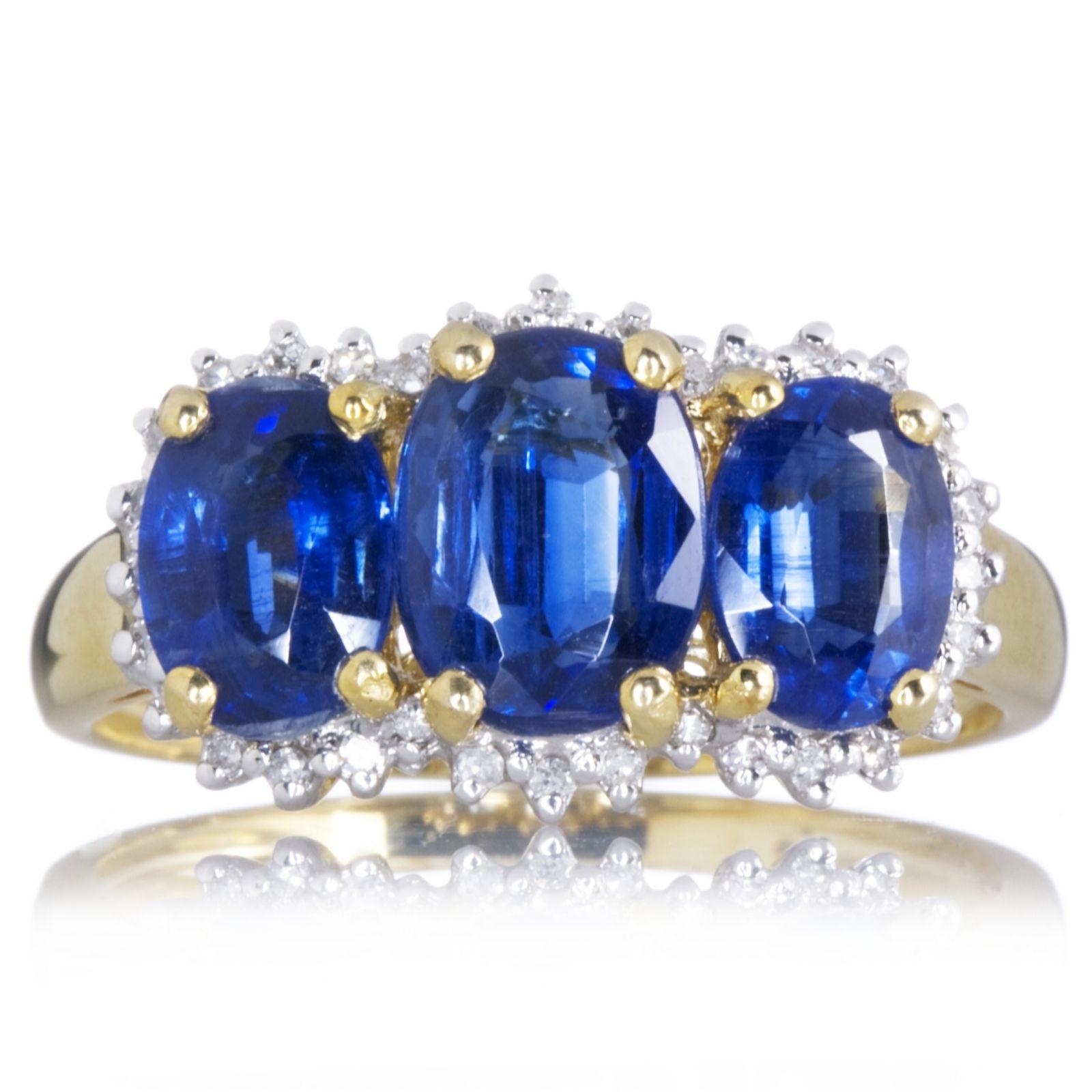 2 9ct Nepalese Kyanite 3 Stone Ring with 0 1ct Diamond 9ct Gold