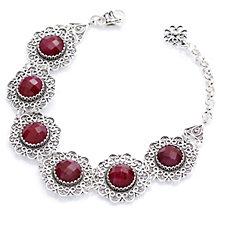 Ottoman Flower Gemstone 18cm Bracelet with Extender Sterling Silver