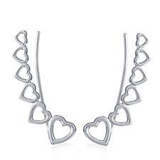 Georgiana by G Scott Heart Climber Earrings Sterling Silver