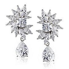 Diamonique by Tova 17ct tw Oscar Drop Earrings Sterling Silver