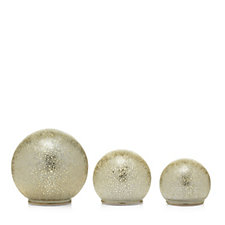 Home Reflections Set of 3 Feather Effect Mercury Glass Pre-Lit Spheres