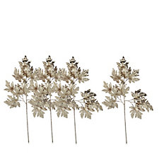 Home Reflections Set of 4 Glittered Maple Leaf Stems