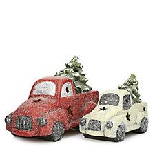 Santa's Express Set of 2 Pre-Lit Christmas Trucks