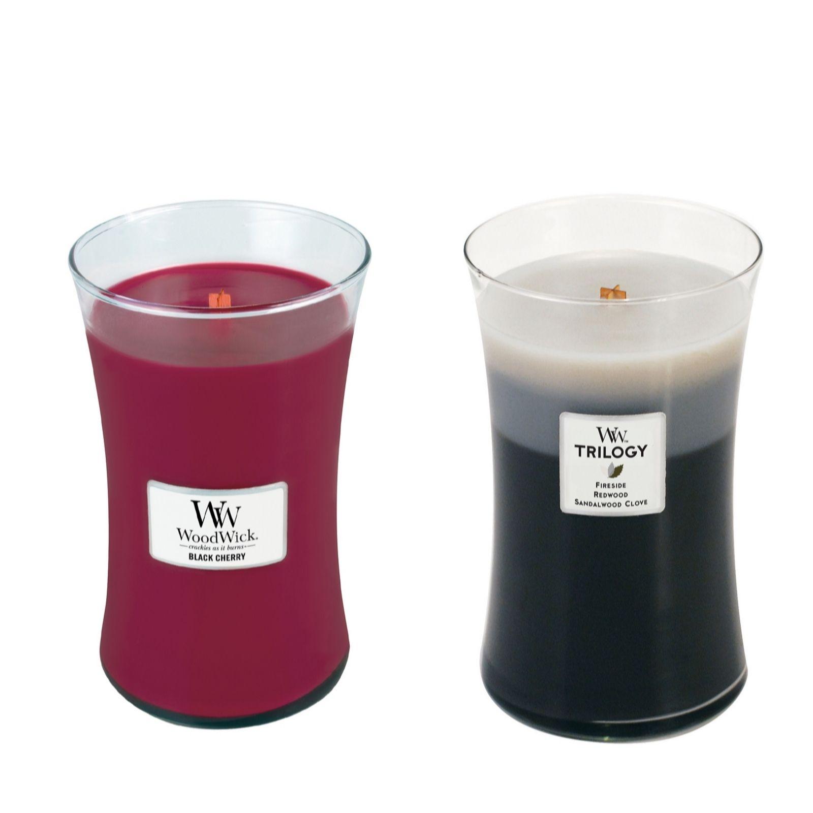 26e05a331d Woodwick Set of 2 Warm Woods Trilogy   Black Cherry Hourglass ...
