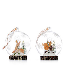 Home Reflections Set of 2 Pre Lit Glass Large Reindeer Scenic Baubles