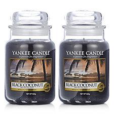 Yankee Candle Set of 2 Black Coconut Large Jars
