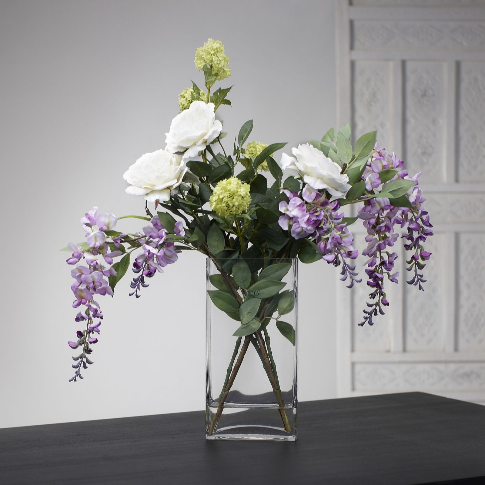Peony Roses Amp Wisteria Faux Flowers In A Tall Vase Page