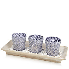 Home Reflections Set of 3 Glass Flocking Candle Holder with Plate