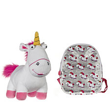 Despicable Me 3 Small Glitter Backpack & Large Fluffy Unicorn Plush Toy
