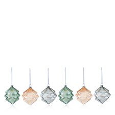 Home Reflections Set of 6 Geometric Glass Decorations