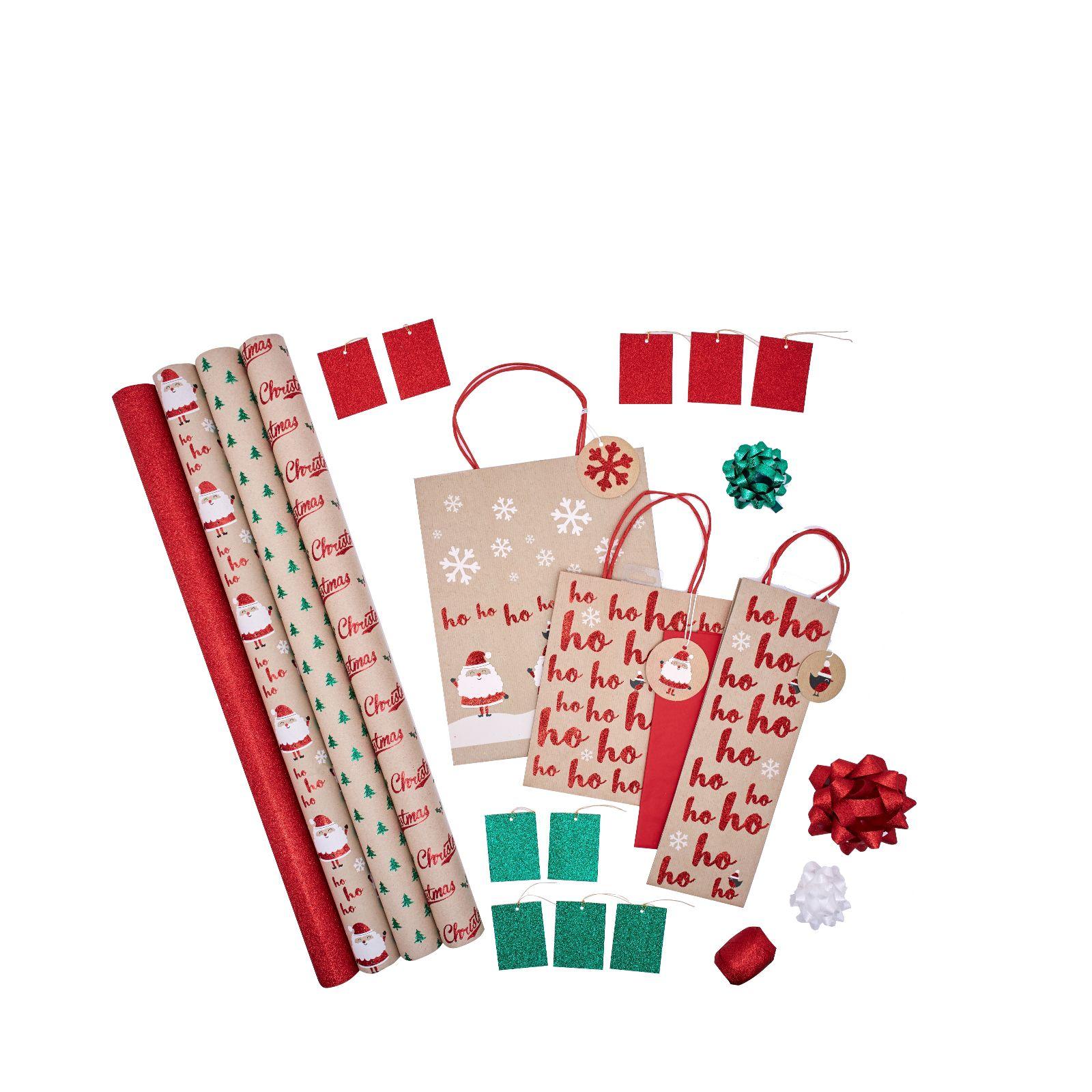 The Unique Paper Company 25 Piece Christmas Wrap Bundle