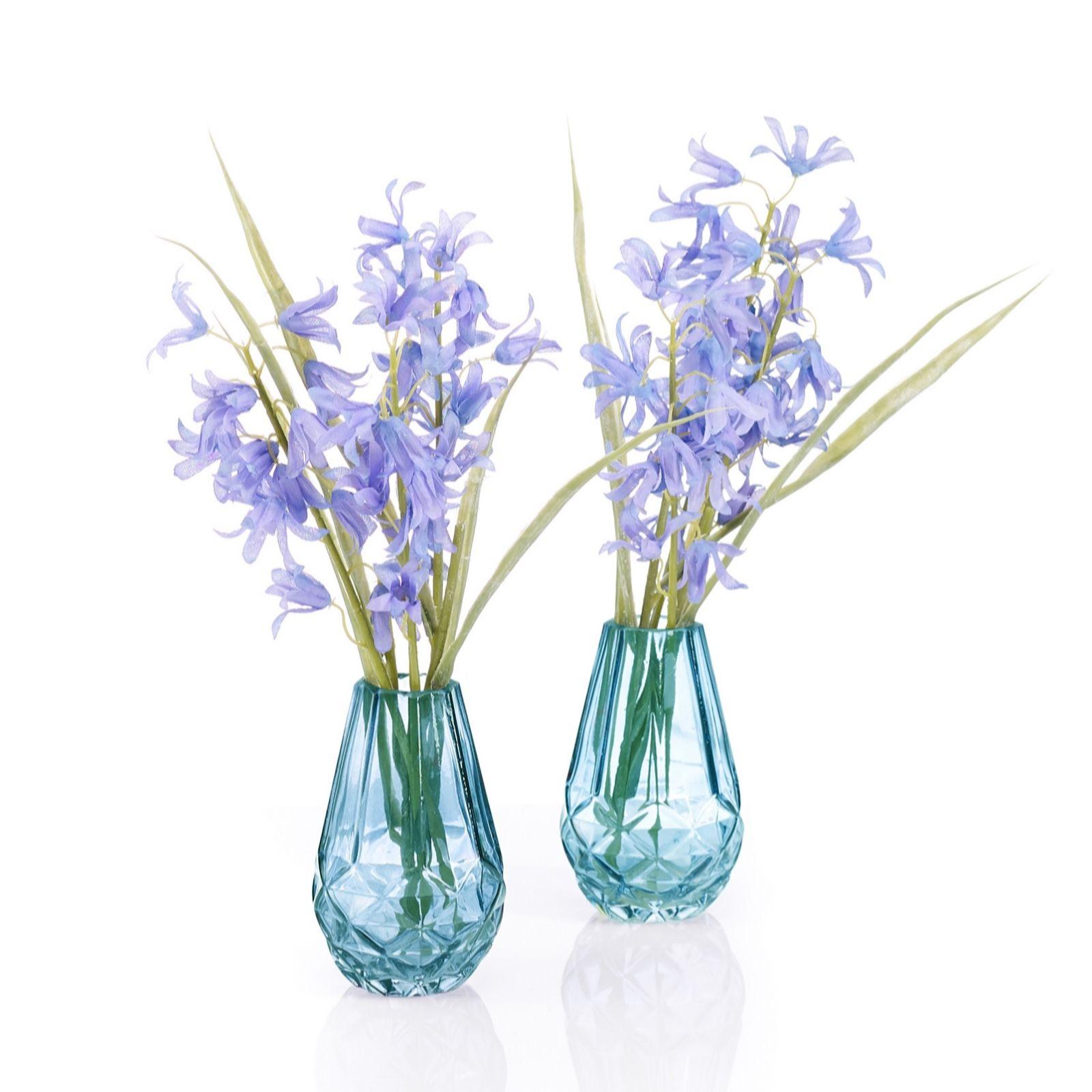 Glass Ornament Bluebell Flowers In Vase
