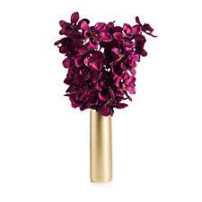 Peony Cymbidium Orchid & Foliage in a Cylinder