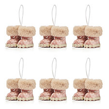 Home Reflections Set of 6 Winter Boot Tree Decorations