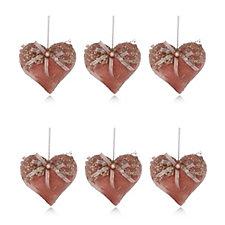 Home Reflections Set of 6 Velvet Heart Tree Decorations