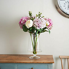 Peony Hydrangea & Peonies in a Lustre Clear Vase