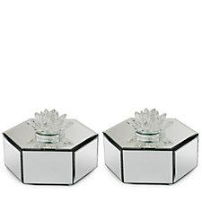 JM by Julien Macdonald Set of 2 Crystal Lotus Flower Mirror Trinket Box