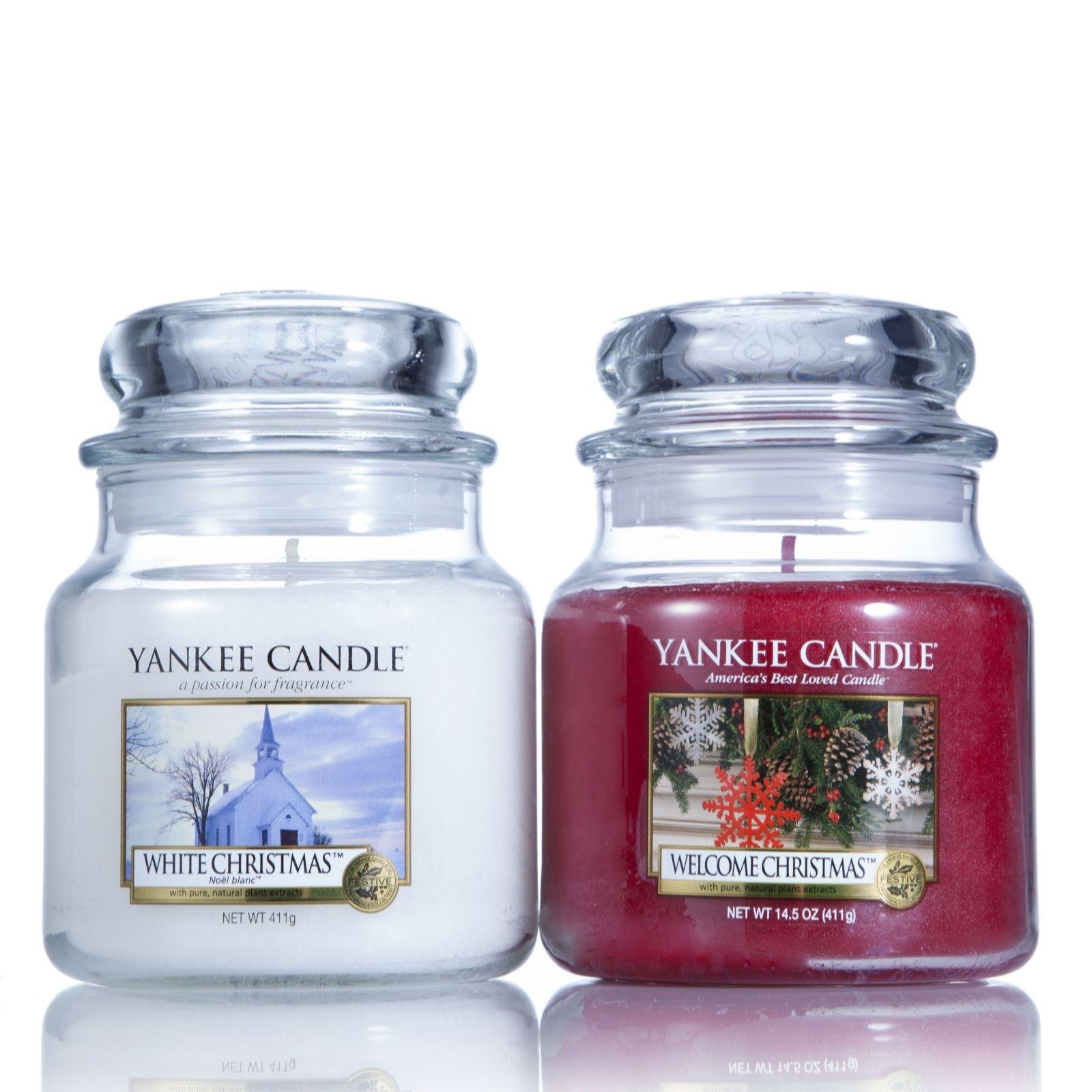 yankee candle 2 medium jar christmas gift set page 1 qvc uk - Yankee Candle White Christmas