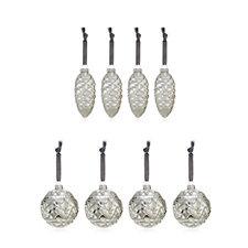 Alison Cork Set of 8 Mercury Glass Baubles & Cones