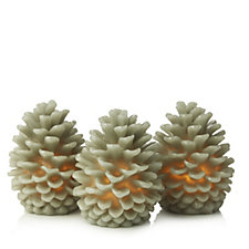 Alison Cork Set of 3 Flameless Pine Cone Candles