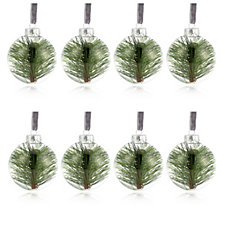 Alison Cork Set of 8 Glass Decorations with Greenery