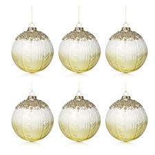 Alison Cork Set of 6 Beaded Deluxe Golden Glass Vintage Baubles