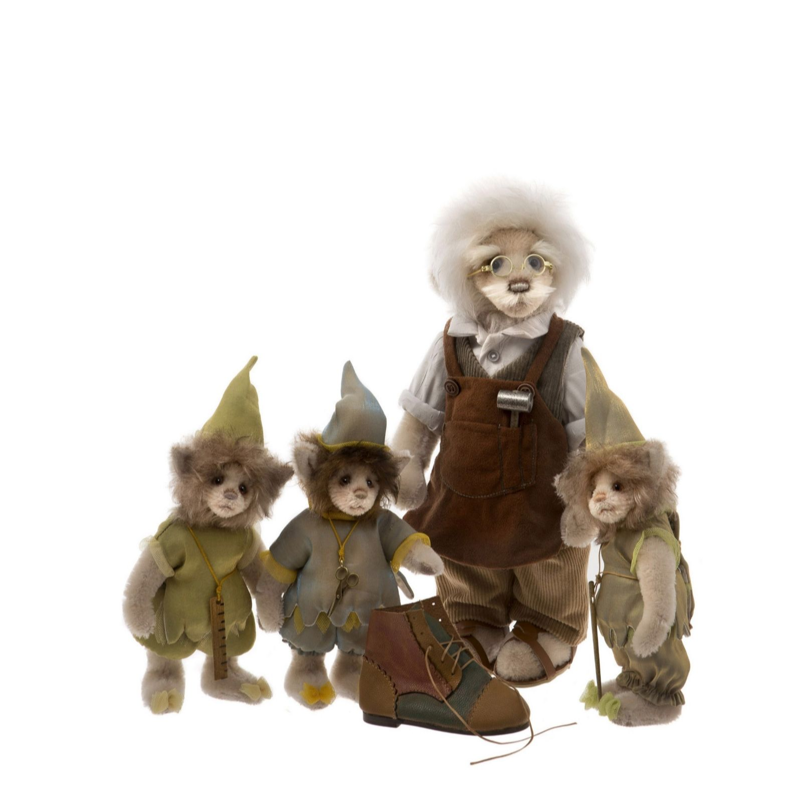 506711a755f Charlie Bears Collectable Elves & Shoemaker Mohair Set - QVC UK