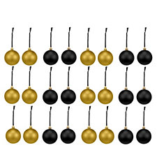 Home Reflections Set of 24 Black & Gold Baubles