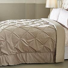 Alison Cork Pintuck Velvet Bedcover with Linen Cotton Reverse