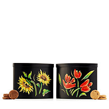 Churchill's Set of 2 Biscuits in Midnight Flower Tins