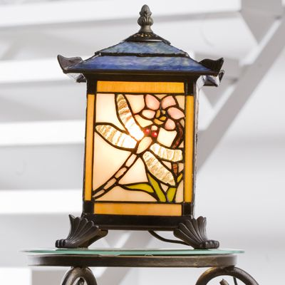 7a87e5592b1c Tiffany Style Handcrafted Dragonfly Lantern Novelty Lamp - QVC UK
