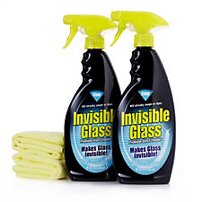 Invisible Glass Set of 2 x 650ml Spray Bottles with 2 Microfibre Cloths