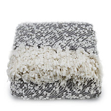 Cozee Home Boucle Knit Throw with Fringe