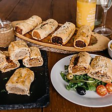 Toppings Pies 8 Piece Gourmet Vegetarian Sausage Roll Variety