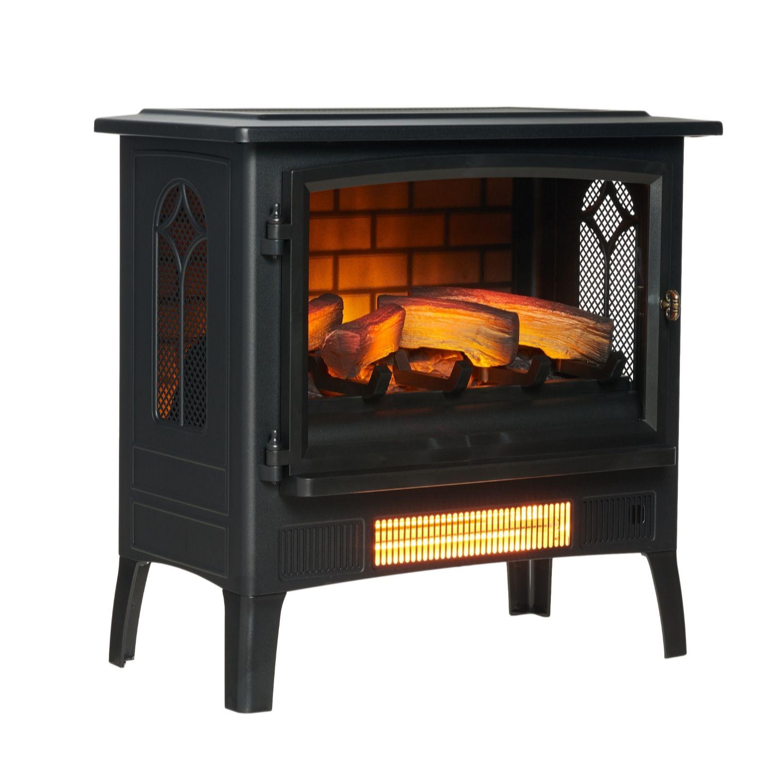Powerheat Log Burner Style Infragen Heater W 3d Flame Effect